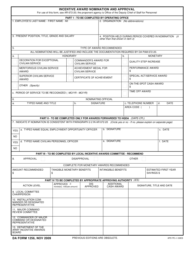 Download Fillable da Form 1256