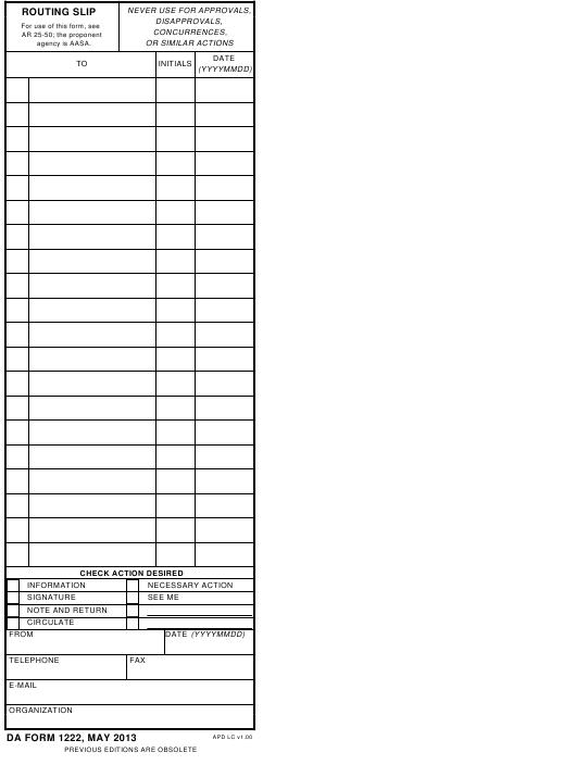 Download Fillable da Form 1222