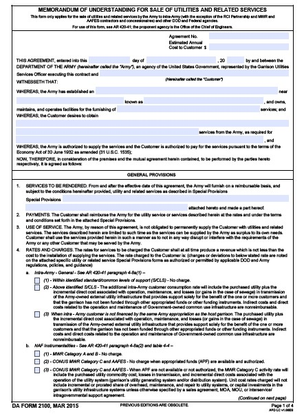 Download Fillable da Form 2100