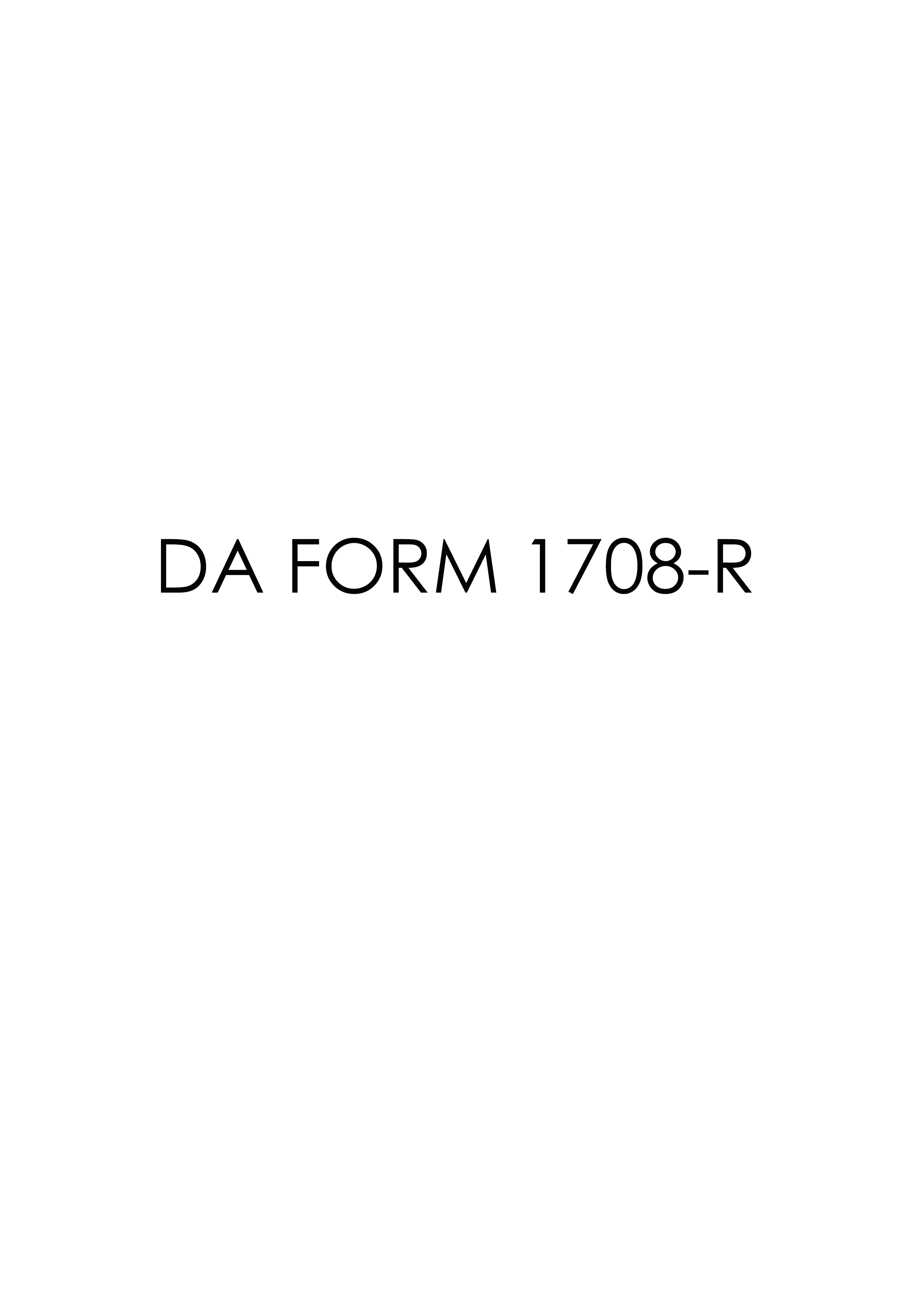 Download Fillable da Form 1708-R