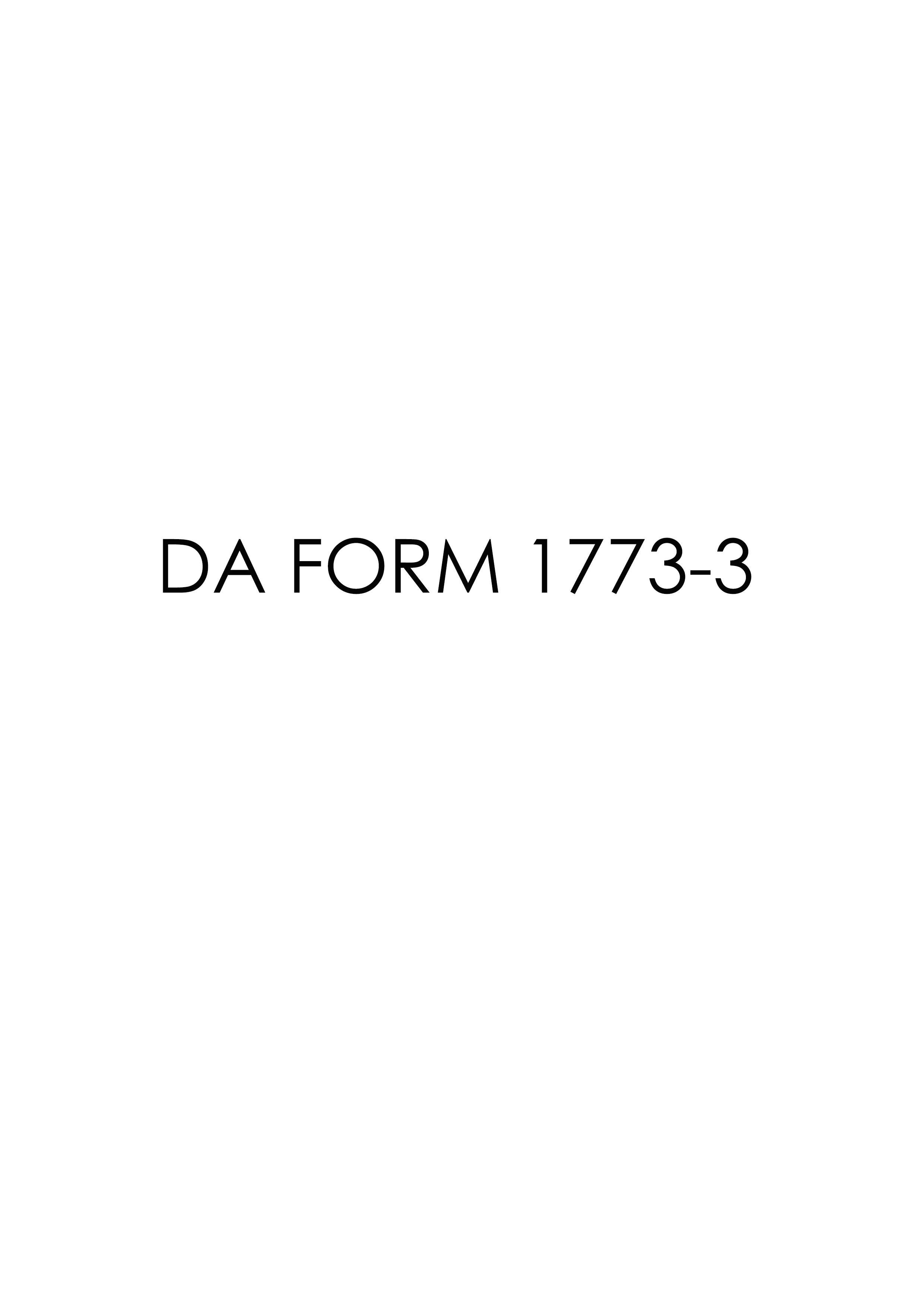 Download Fillable da Form 1773-3