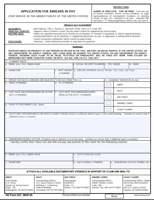 Download Fillable dd Form 827