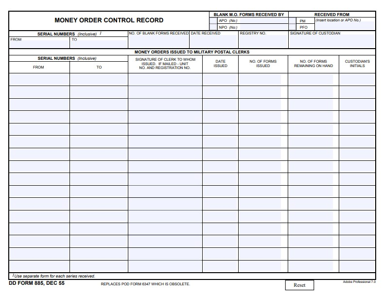 Download Fillable dd Form 885